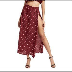 Beach 2 pieces polka dot long skirt crop top Sz M